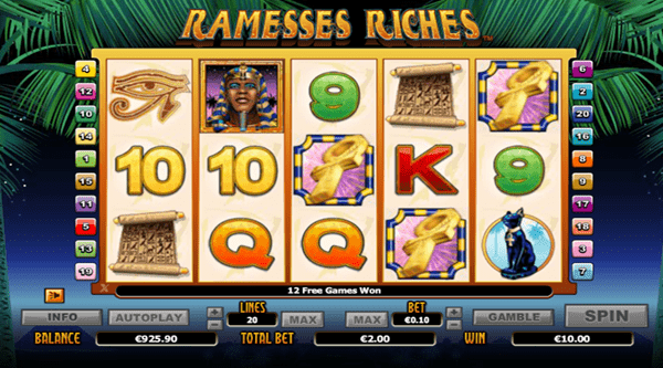 Ramses Riches: Microgaming game copy