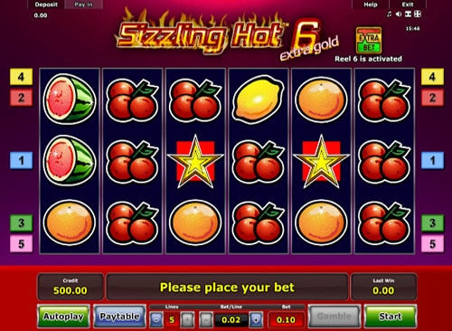 Sizzling Hot 6 Extra Gold slot - Greentube