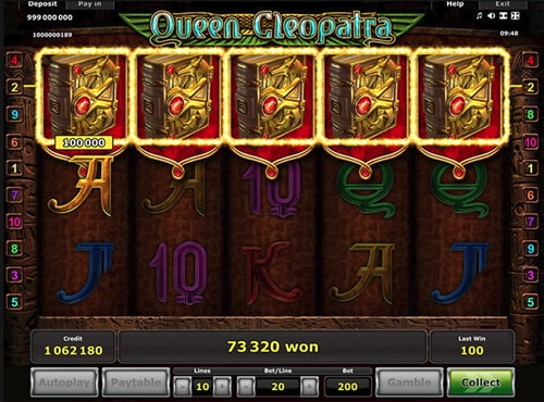 Queen Cleopatra slot machine from Greentube
