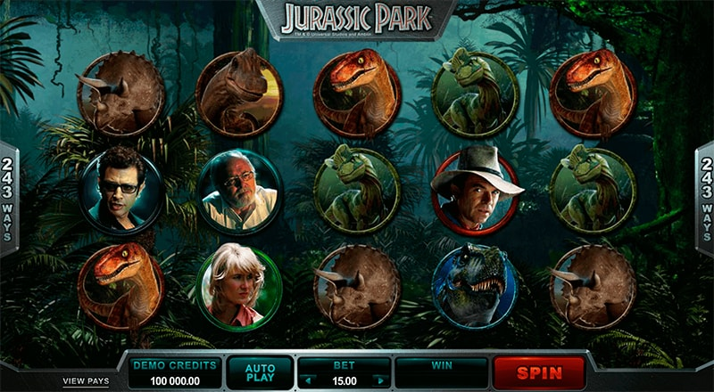 The slot game Jurassic Park by Microgaming