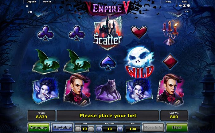 Empire V slot machine by Greentube