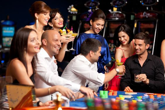 people are drinking while gambling