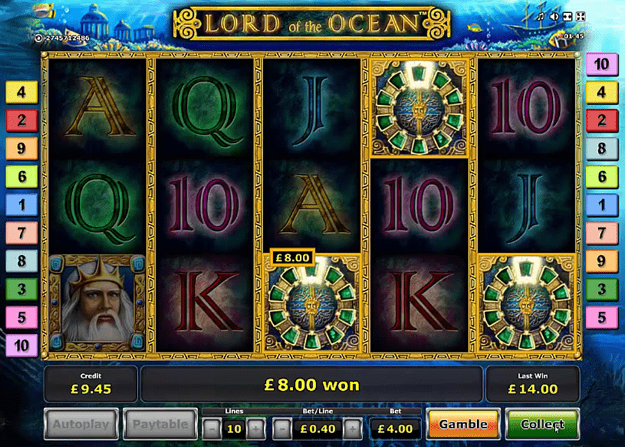 Novomatic Deluxe BTD gaming machine - Lord of the Ocean Deluxe